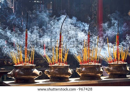 Incense burning in a Buddhist temple