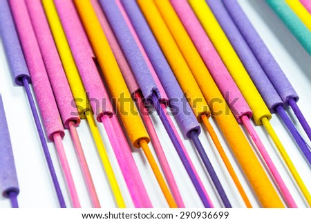 Incense color isolate white background