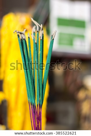 incense in the temple - stock photo