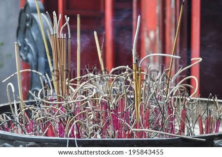 incense pebetero of a Buddhist pagoda in Vietnam - stock photo