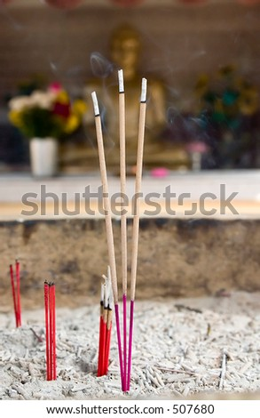 Incense stick in a temple. - stock photo