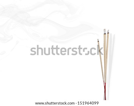 Incense Stick with Smoke on Black Background - stock photo