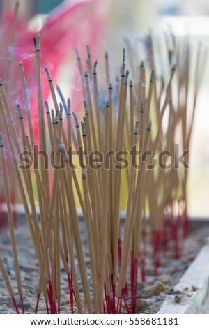 incense sticks which are sticking for praying buddha