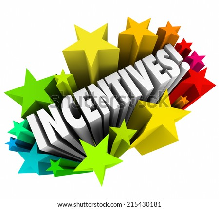 Incentives word in 3d letters within colorful stars or fireworks advertising a special promotion of rewards or enticement to buy or sell more