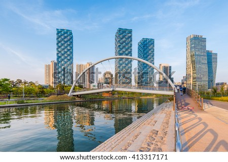 Incheon,Central Park in Songdo International Business District , South Korea. - stock photo
