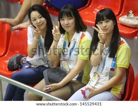 INCHEON - July 4:Unidentified fan of South Korean in an Asian Indoor and Martial Arts Games at Songdo Global University on July 4, 2013 in Incheon, Korea.