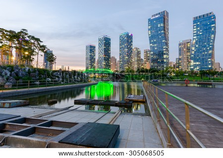 Incheon,South Korea - August 09, 2015: Songdo Central Park in Songdo International Business District at Night, Incheon South Korea.