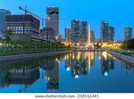 INCHEON,SOUTH KOREA - June 06, 2014: Songdo Central Park at night in Songdo International Business District.Incheon,Korea - stock photo