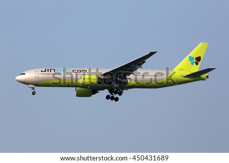 INCHEON, SOUTH KOREA - MAY 24: A Jin Air Boeing 777-200 airplane approaching on May 24, 2016 in Incheon, South Korea. Jin Air is an airline from South Korea with its headquarters in Incheon. - stock photo