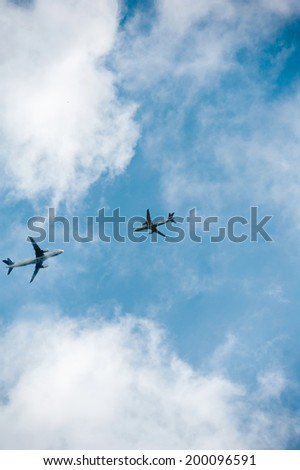 Incidental Mid-air collision (aviation accident) between two aircraft during flight - stock photo