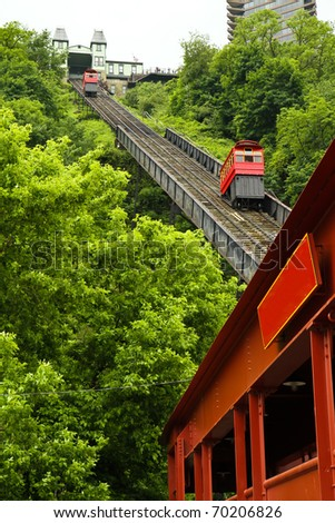 Incline used to transport residents to the top of the hill - stock photo