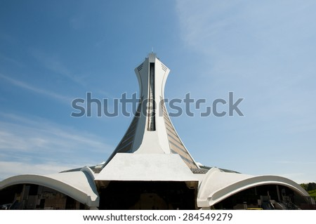 Inclined Tower of Stadium - Montreal - Canada - stock photo