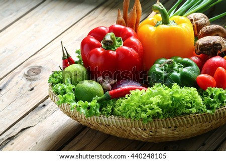 Include vegetables,Bell pepper,Lettuce,chilli,Tomato,Shiitake,Onion on wooden floor with copy space