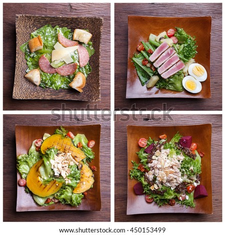 Including healthy foods salad set. Caesar salad,Tuna salad,Nicoise with tuna and vegetables Salad. - stock photo