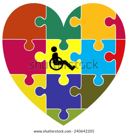 Inclusion Concept. Symbol for the successful integration of handicapped people into community living - stock photo