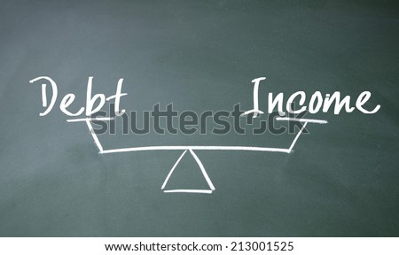 income and debt balance sign - stock photo
