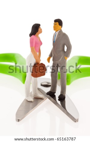 Income gap. Different income between husband and wife - stock photo