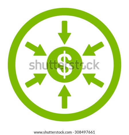 Income glyph icon. This flat rounded symbol uses eco green color and isolated on a white background. - stock photo