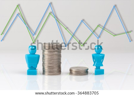 Income inequality concept shown with male and female figurines and piles of coins with line graph above. - stock photo