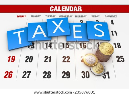 Income tax as a concept in the background calendar - stock photo