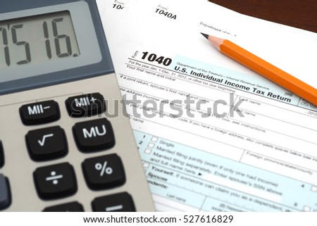 Financial irs individual tax return 1040 stock photo for 1040 tax table calculator