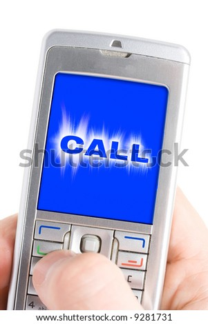 Incoming call by cell phone in hand. Isolated over white - stock photo