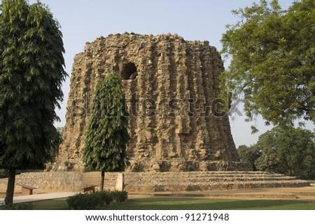 Incomplete Minar structure in Qutub Minar Complex, New Delhi, India, Asia - stock photo