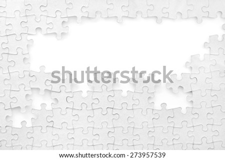 incomplete puzzle background on white - stock photo