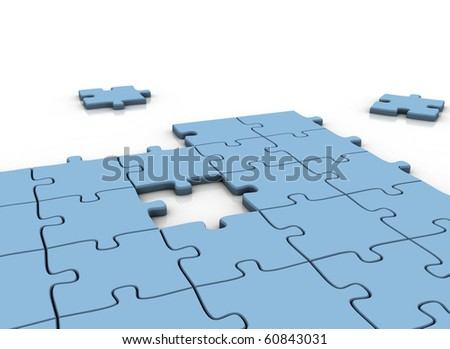 Incomplete puzzle piece - stock photo