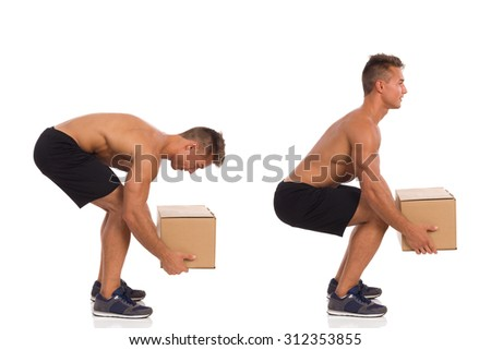 Incorrect And Correct Posture While Lifting Weight. Young fit man showing how to pick up a heavy carton box. Side view. Full length studio shot isolated on white. - stock photo
