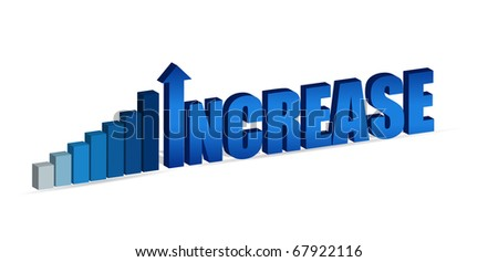 Increase business chart and word isolated on white. - stock photo