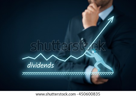 Increase dividends concept. Shareholder plan (predict) dividends growth represented by graph. - stock photo