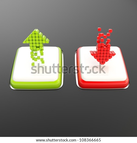 Increase green up and red decrease arrows on white square shiny buttons over black glossy background - stock photo