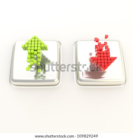 Increase green up and red decrease arrows over chrome metal glossy buttons - stock photo