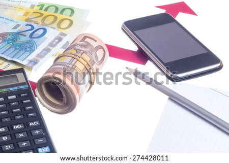 Increase of euro value concept. Red arrow growing with office supplies - stock photo