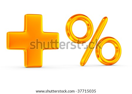 Increase percent on white background. Isolated 3D image - stock photo