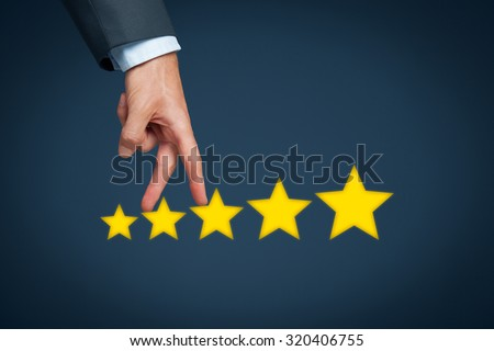 Increase rating, evaluation and classification concept. Businessman represented by hand rise on increasing five stars.  - stock photo