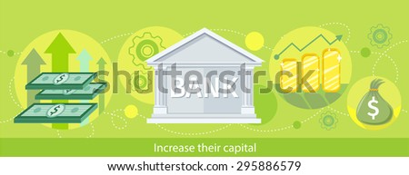 Increase their capital. Detailed horizontal web banner of the bank as a traditional investor on the stylish colored background with notes, diagrams, money. In flat design. Raster version - stock photo