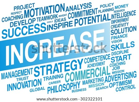 INCREASE word cloud concept in blue color - stock photo