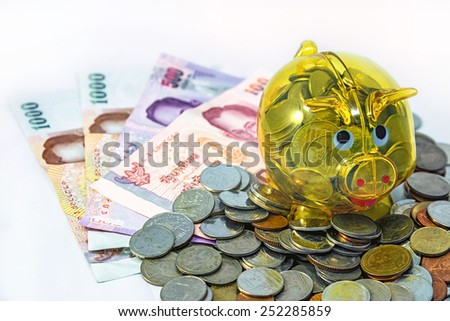 Increase your savings Piggy bank on coins and banknotes  with white background  - stock photo