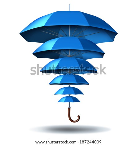 Increased business protection security concept as a blue umbrella metaphor changing in size from small to big protecting smaller umbrellas connected together in a network to protect team members. - stock photo