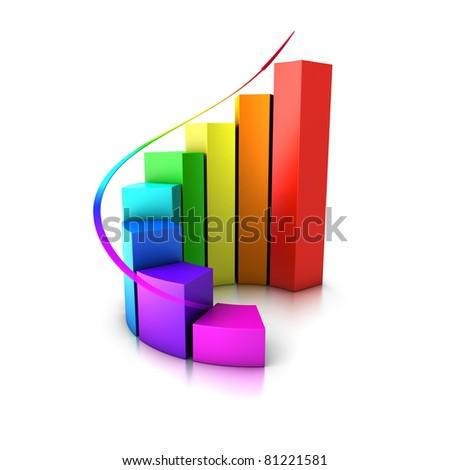 increasing bar graph - stock photo
