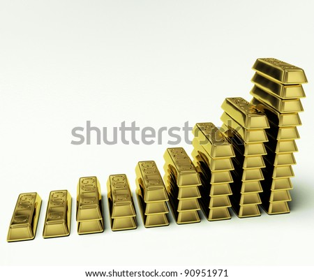 Increasing Gold Bars As Symbol For Wealth Or Treasure - stock photo