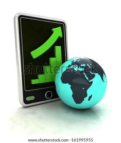 increasing graph stats of African countries on smart phone display illustration - stock photo