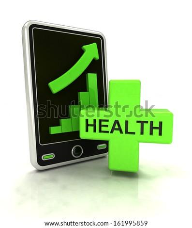 increasing graph stats of health care on smart phone display illustration - stock photo