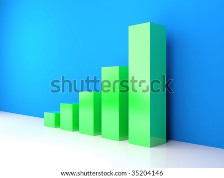 Increasing green diagram bars on blue background