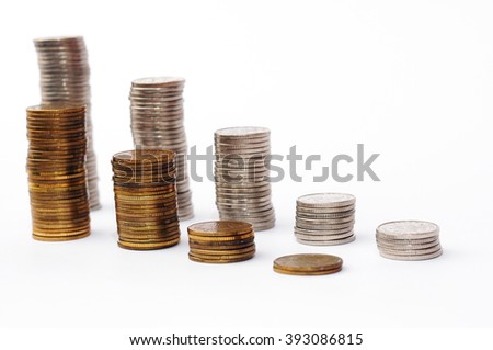 Increasing piles of coins, financial growth, home budget planning - Save money - coins for growing business - currency, work, job, growth, business, stock market, finance, graph, background - stock photo