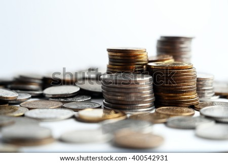 Increasing piles of coins, financial growth, home budget planning - Save money - for growing business - currency, work, job, growth, business, stock market, finance, graph, background