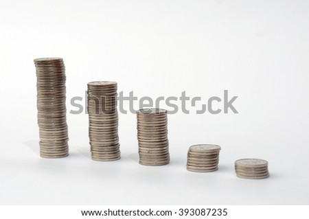 Increasing piles of coins, financial growth, home budget planning - Save money -  growing business - currency, work, job, growth, stock market, finance, graph, background - stock photo