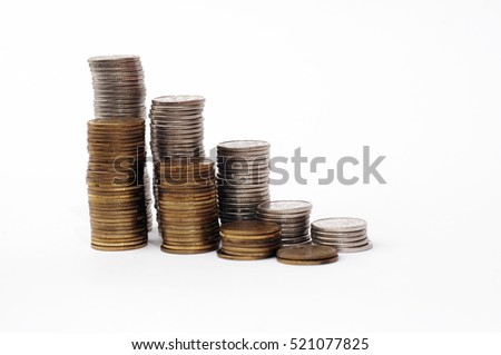 Increasing piles of coins, financial growth, home budget planning, Save money, growing business, currency, work, job, stock market, finance, graph, background, pln, USD, GBP. EUR, economic